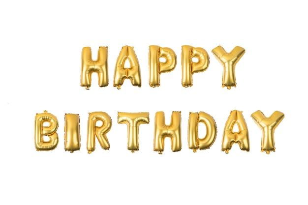 Alles gute zum geburtstag englisch alphabet aus gelben (golden) ballons auf weißem hintergrund Premium Fotos