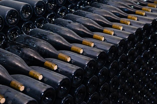 Alte dunkle staubige weinflaschen, die im untertagekeller in den reihen altern Premium Fotos