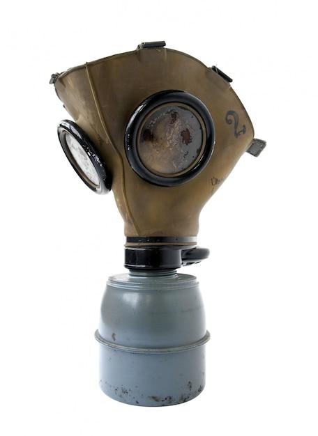 Alte gasmaske auf einem weißen hintergrund Premium Fotos