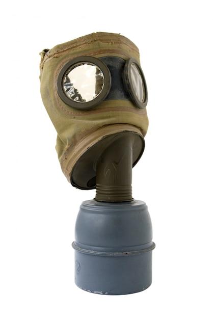 Alte gasmaske auf weiß Premium Fotos