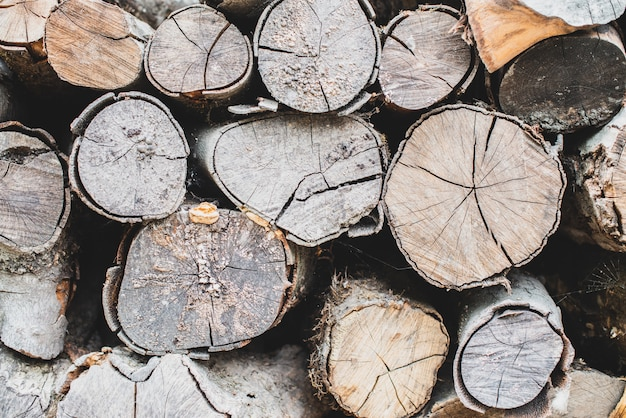 Alte gehackte kreisbrennholzwand browns. strukturierter hintergrund mit hölzerner natürlicher platte. Premium Fotos
