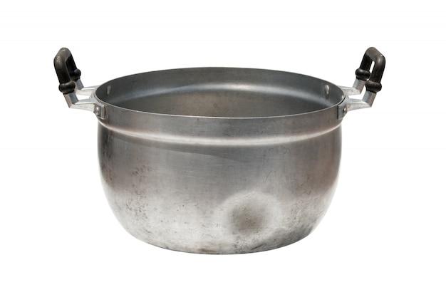 Alter kochender topf lokalisiert auf weißem hintergrund Premium Fotos