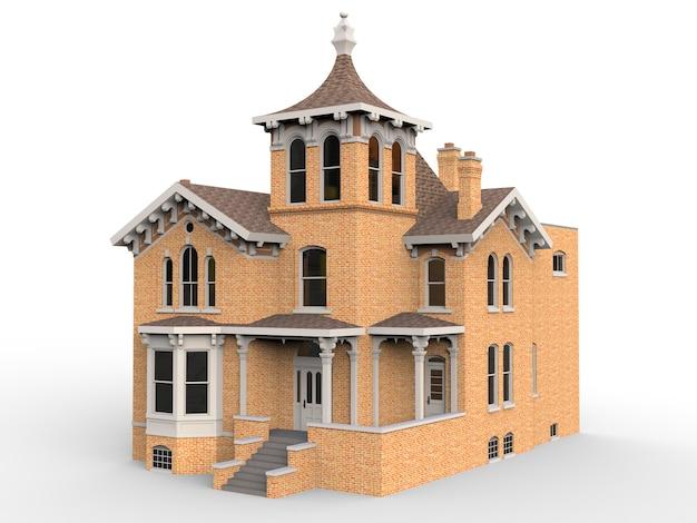Altes haus im viktorianischen stil. 3d-rendering. Premium Fotos