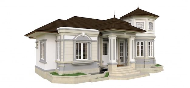 Altes haus im viktorianischen stil. abbildung auf weißem hintergrund. arten von verschiedenen seiten. 3d-rendering. Premium Fotos