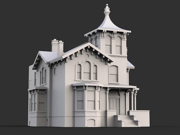 Altes haus im viktorianischen stil. illustration auf schwarzer oberfläche. arten von verschiedenen seiten Premium Fotos