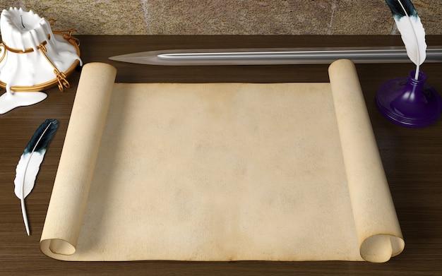 Altes leeres antikes rollenpapier auf tabelle mit federkiel, kerze und klinge im mittelalterlichen thema, wiedergabe 3d Premium Fotos