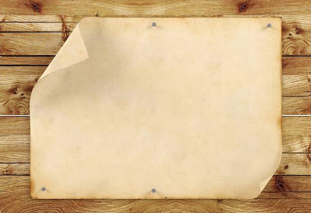 Altes leeres weinlesepapier auf hölzernem hintergrund, wiedergabe 3d Premium Fotos