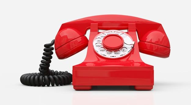 Altes rotes vorwahlknopftelefon auf einem weißen hintergrund. abbildung 3d. Premium Fotos