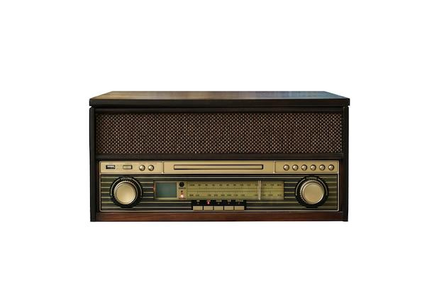 Altes weinleseradio lokalisiert auf weiß Premium Fotos