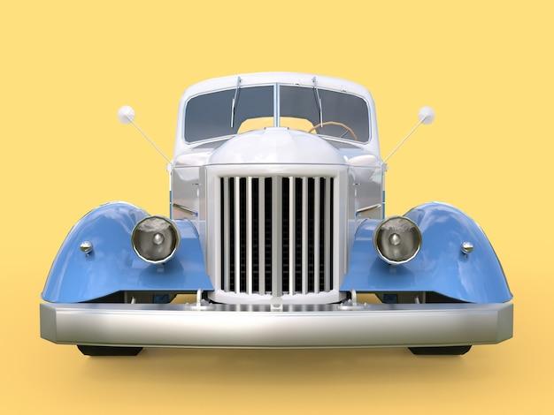 Altes wieder hergestelltes weißes und blaues auto auf gelb Premium Fotos
