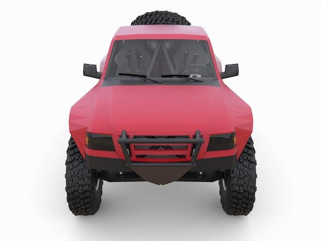 Am besten vorbereiteter roter sport-race-truck für das wüstengelände. Premium Fotos