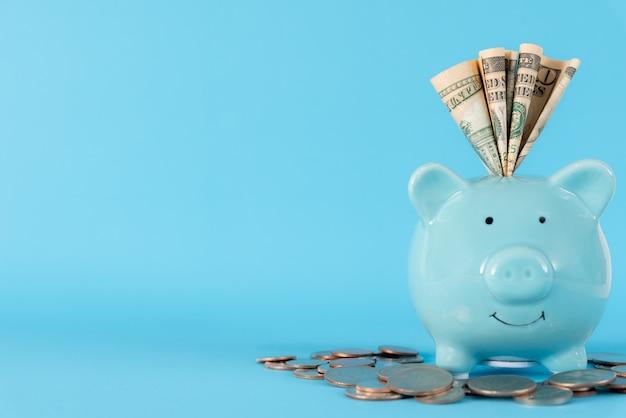Amerika-dollarbanknotengeld in blaues pastellsparschwein auf blauem hintergrund. Premium Fotos