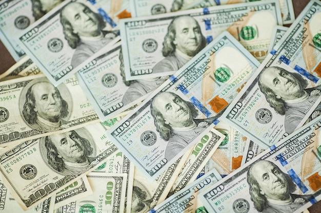 Amerikanische geldhintergrundrechnungen von 100 amerikanischen dollar Premium Fotos