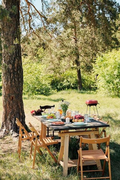 An einem sonnigen sommertag stehen mehrere holzstühle am tisch mit hausgemachtem essen und getränken zum abendessen im freien unter einer kiefer Premium Fotos
