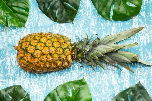 Ananasfrucht mit monsterablättern Kostenlose Fotos