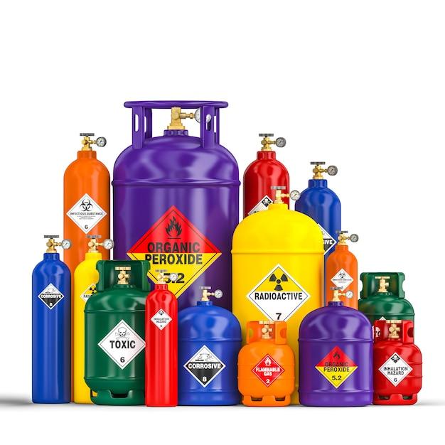 Anderer gefährlicher flaschenbehälter Premium Fotos