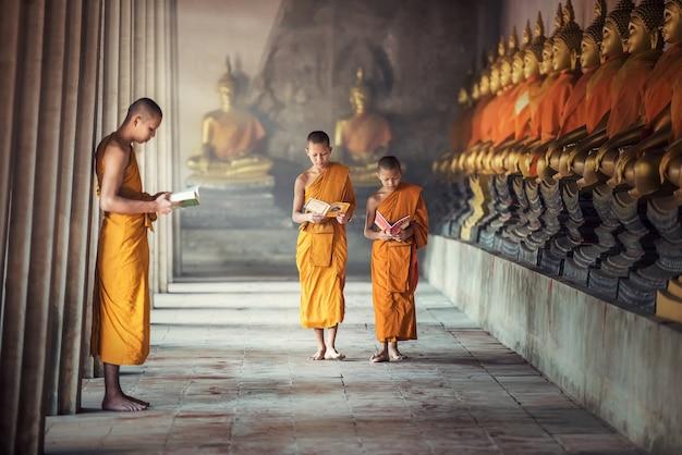 Anfängermönchlesebuch innerhalb des klosters in ayutthaya-provinz, thailand Premium Fotos