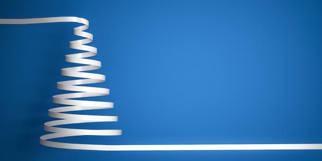 Angeredeter serpentinenweihnachtsbaum des weißen bandes auf blauem hintergrund mit Premium Fotos