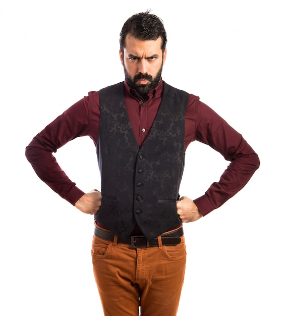 Angry man trägt weste Kostenlose Fotos