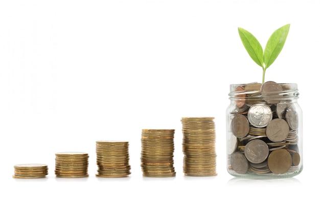 Anlagekonzept, börse des münzendiagramms. einsparungsgeldkonzept. Premium Fotos