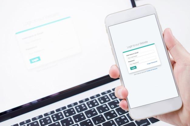 Anmeldebildschirm auf ihrem telefon und computer. das konzept der datensicherheit Premium Fotos
