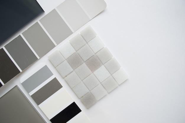 Anordnung der materialmuster, materialauswahl, draufsicht Premium Fotos