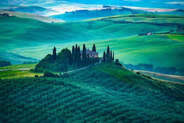 Ansicht der schönen grünen hügeligen landschaft am frühen morgen, valdorcia, italien Premium Fotos