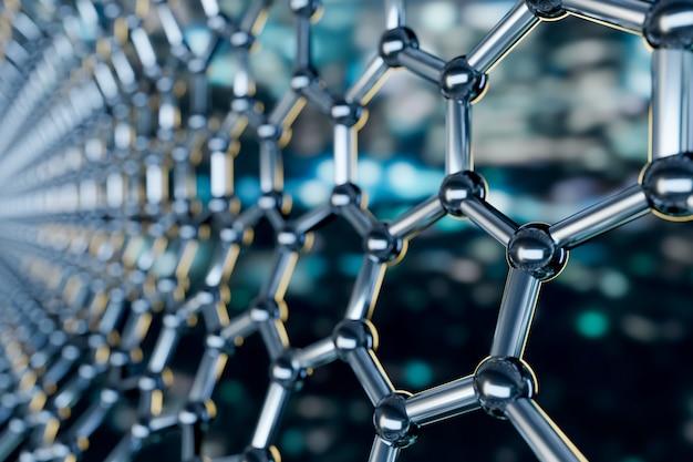Ansicht einer molekularen nanotechnologiestruktur des graphens auf einem blauen hintergrund - wiedergabe 3d Premium Fotos