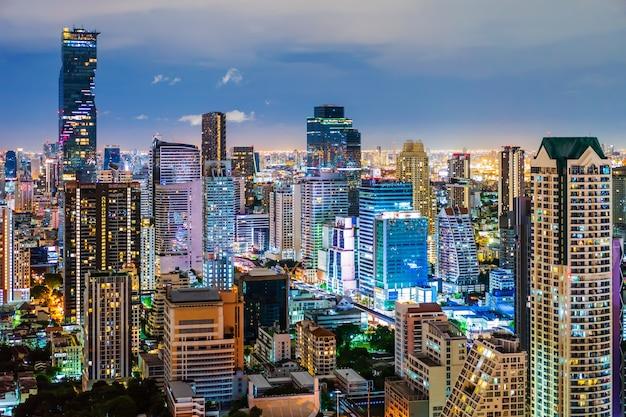 Ansicht von bangkok stadt bei nacht, thailand Premium Fotos