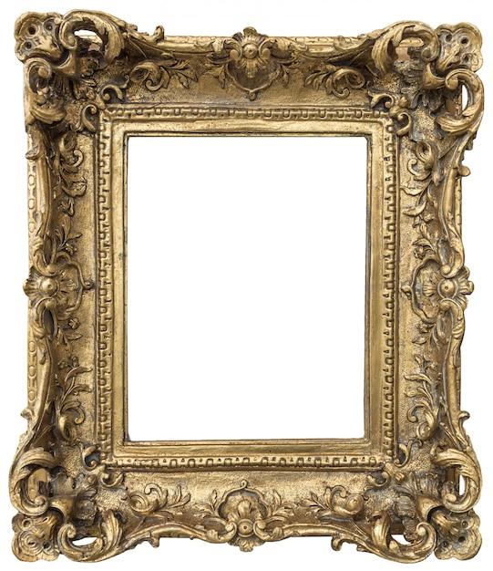 Antiker goldener rahmen mit dem leeren raum lokalisiert auf weißem hintergrund Premium Fotos