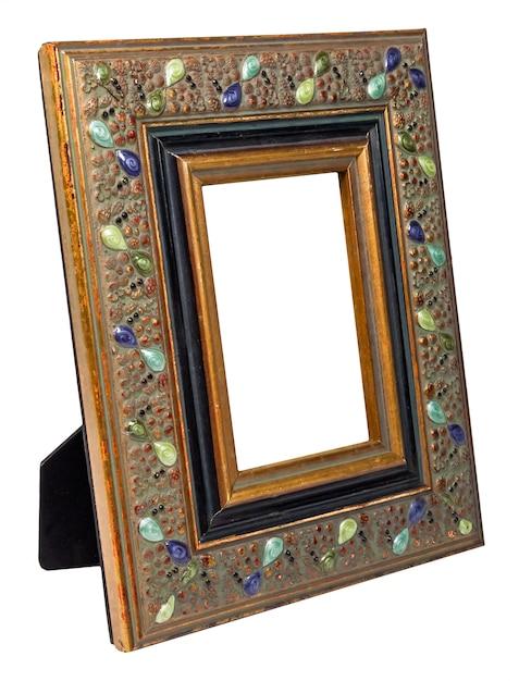Antiker hölzerner fotorahmen mit dem leeren raum lokalisiert auf weißem hintergrund Premium Fotos