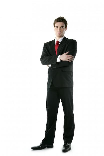 Anzugsbindungsgeschäftsmann in voller länge, der stand aufwirft Premium Fotos