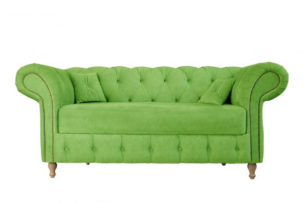 Apfelgrünes sofa auf den holzbeinen lokalisiert auf weißem hintergrund Premium Fotos