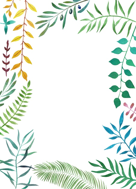 Aquarell botanischen tropischen rahmen Premium Fotos