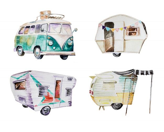 Aquarell camping lieferwagen Premium Fotos