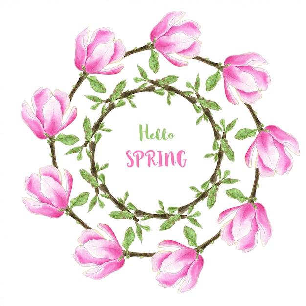 Aquarell-frühlingsrahmen mit magnolienblumen für einladungs- und grußkartendesign Premium Fotos