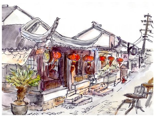 Aquarell gemalte chinesische altstadt, café und rote laternen Premium Fotos