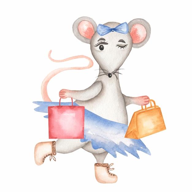 Aquarell grey mouse in einem blauen rock und stiefel mit handtaschen Premium Fotos