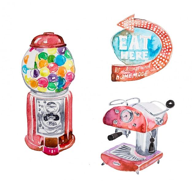 Aquarell handbemalt retro-clipart-set. retro- gummimaschine, weinlesekaffeemaschine, retro- seufzerillustration lokalisiert. Premium Fotos