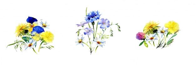 Aquarell handgedruckte feldblumensträuße lokalisiert auf einer weißen wand. rustikales blumenanordnungsdesign. Premium Fotos