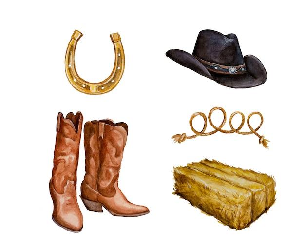 Aquarell handgemalte cowboy clipart set isoliert auf einem weißen Premium Fotos