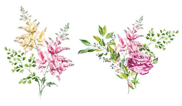 Aquarell handgemalte frühlingsblumensträuße clipart-set. Premium Fotos