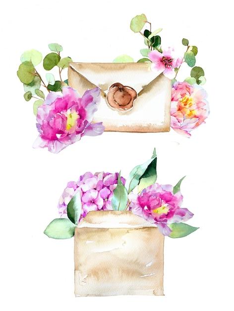 Aquarell handgemalter brief und umschlag mit blumenillustration lokalisiert auf einer weißen wand. Premium Fotos