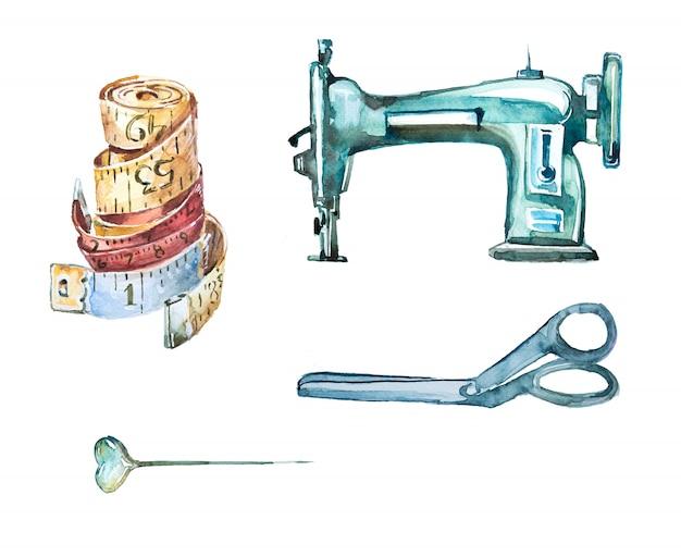 Aquarell handgemaltes vintage nähen clipart-set. illustration der retro-schere, der nadel und der nähmaschine. maßgeschneiderte designs. Premium Fotos