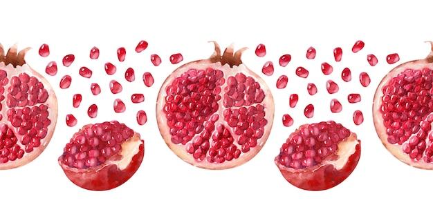 Aquarell nahtlose grenze saftige reife granatäpfel Premium Fotos