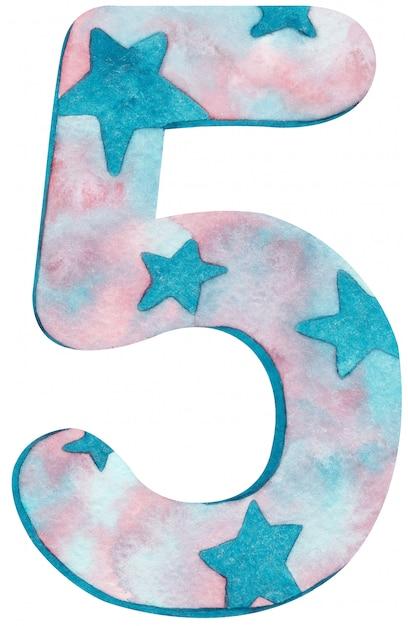 Aquarell nummer fünf mit rosa und blauen farben und sternen. Premium Fotos