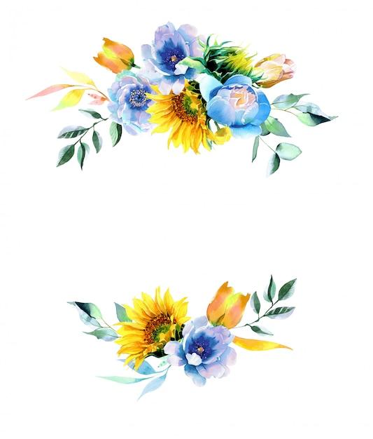 Aquarell-sonnenblumen- und pfingstrosenillustration Premium Fotos