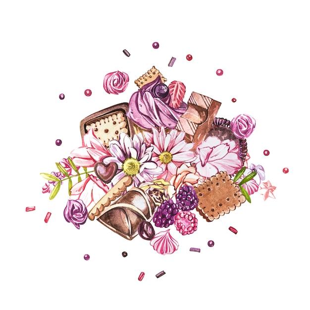 Aquarell-süßigkeiten-auflistung. aquarellbild von zusammensetzungen von bonbons, von kuchen und von umschlag. Premium Fotos
