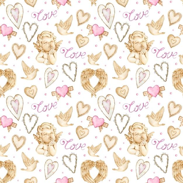 Aquarell-valentinstaghintergrund mit engeln, flügeln und herzen. Premium Fotos