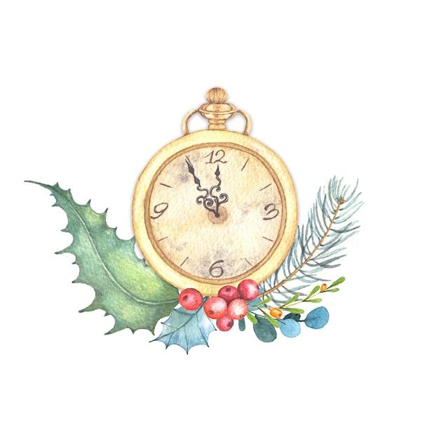 Aquarell-weihnachtsillustration der weinlesegolduhr mit winterblumenanordnung. Premium Fotos